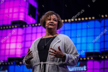 Lisa Jackson, Apple's vice President for the Environment, Policy and Social Initiatives, speaks during the night's proceedings on the the first day of the Web Summit in Lisbon, Portugal, 05 November 2018.