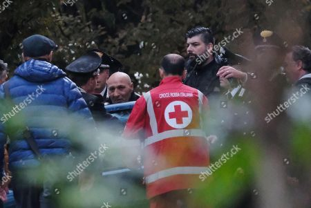 Francesco Amato (C) is taken into custody by Italian Carabinieri at the end of the post office near Reggio Emilia, Italy, 05 November 2018. Amato was convicted last week in the 'Aemilia' trial on 'Ndrangheta Calabrian mafia infiltration in the Emilia region. Amato received a 19 year jail term at the trial and has been on the run since the sentence, police said.