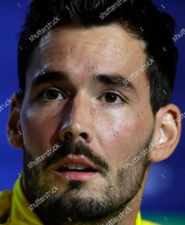 Borussia Dortmund's goalkeeper Roman Burki attends a press conference at Wanda Metropolitano stadium in Madrid, Spain, . Atletico will play Borussia Dortmund Tuesday in a Group A Champions League soccer match