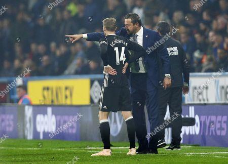 Fulham manager Slavisa Jokanovic issues instructions to Andre Schurrle