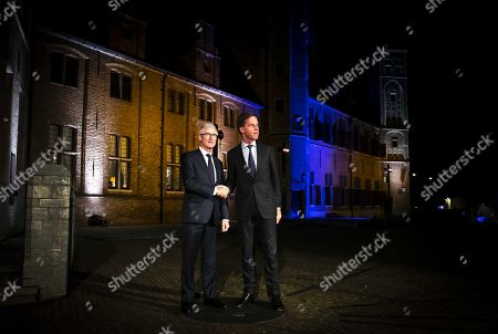 Dutch Prime Minister Mark Rutte (R) welcomes Flemish Prime Minister Geert Bourgeois at the beginning of the Flemish-Dutch Strategic Summit in Middelburg, Zeeland, The Netherlands, 05 November 2018. During the summit government members from both countries will discuss once again concrete cooperation dossiers on strategic level.