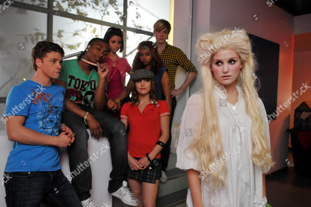 'Britannia High'  TV - 2008 -  :(L-R) Danny [Mitch Hewer], Bb [Marcquelle Ward], Claudine [Sapphire Elia], Lauren [Georgina Hagen], Lola [Rana Roy], Jez [Matthew James Thomas] and  Ronnie [Sophie Powles] dressed up as a ghost trying to convince Lola that the school is haunted.