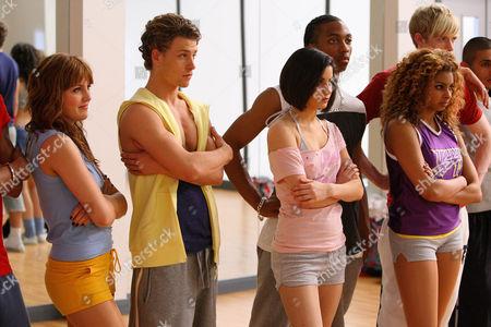 'Britannia High'  TV - 2008 - Lauren Waters [Georgina Hagen], Lola [Rana Roy], Jez [Matthew James Thomas], Danny [Mitch Hewer], BB [Marcquelle Ward], Claudine [Sapphire Elia]