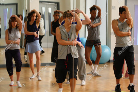 'Britannia High'  TV - 2008 -  The new students are put through a tough routine by dance teacher Stefan [Adam Garcia], also pictured Danny [Mitch Hewer] and Lauren [Georginia Hagen]