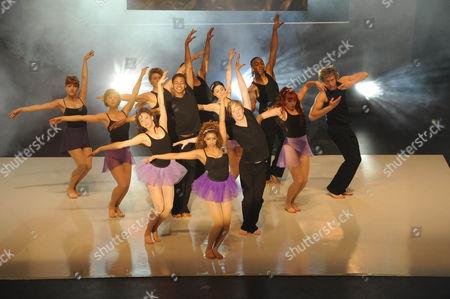 'Britannia High'  TV - 2008 -  The showcase for the new students Lauren Waters [Georgina Hagen], Lola [Rana Roy], Jez [Matthew James Thomas], Danny [Mitch Hewer], BB [Marcquelle Ward], Claudine [Sapphire Elia]