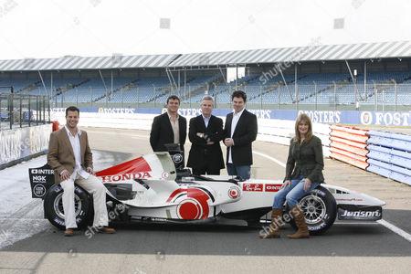 'Formula 1' ITV Sport - (L-R): Ted Kravitz, Mark Blundell, Steve Rider, James Allen and Louise Goodman.