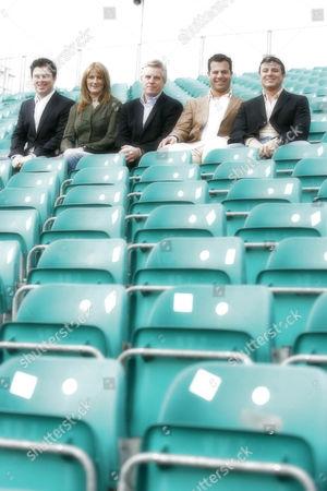 'Formula 1' ITV Sport - (L-R): James Allen, Louise Goodman, Steve Rider, Ted Kravitz and Mark Blundell.