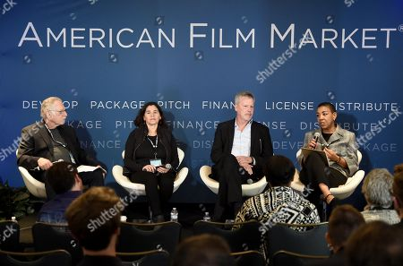 Stock Image of Dennis Dreith, Chairman and Co-founder of Transparence Entertainment Group, Germaine Franco, Composer and Music Producer, Paul Broucek, President, Music,Warner Bros. Pictures, and Kim Roberts Hedgpeth, Executive Director, Film Musicians Secondary Markets Fund