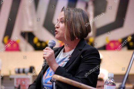 New Mexico Democratic gubernatorialcandidate and U.S. Rep. Michelle Lujan Grisham gives a campaign speech in Santa Fe, N.M. Lujan Grisham is competing against Republican U.S. Rep. Steve Pearce of Hobbs. Republican Gov. Susana Martinez cannot run for a consecutive third term