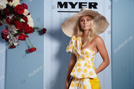 Myer Ambassador Elyse Knowles, wearing Acler and Millinery by Melissa Jackson, poses for a portrait during the Lexus Melbourne Cup Day, as part of the Melbourne Cup Carnival, at Flemington Racecourse in Melbourne, Australia, 06 November 2018.