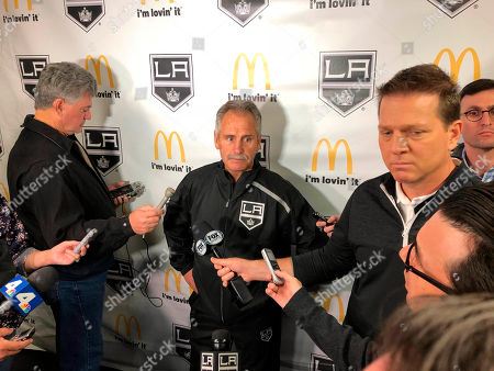 Stock Image of Los Angeles Kings interim coach Willie Desjardins reacts to a question from reporters after his first practice with his new team on . Desjardins is taking over for the fired John Stevens with hopes of improving the Kings' NHL-worst start to the season