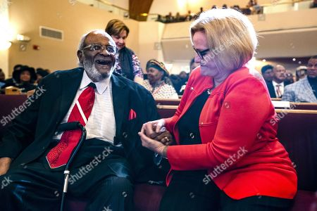 Democratic Senate incumbent from Missouri Claire McCaskill (R) greets Dr. Wallace Hartsfeld Sr. (L) before speaking to parishioners at St. James United Methodist Church in Kansas City, Missouri, USA, 05 November 2018. McCaskill is locked in a tight race with her Republican rival Josh Hawley.