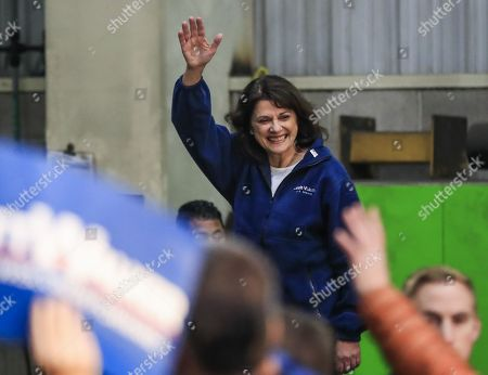 Republican US Senate candidate Leah Vukmir waves as she arrives at a Get Out The Vote campaign event at Weldall Manufacturing, Inc., in Waukesha, Wisconsin USA, 05 November 2018. Vukmir is running to unseat incumbent Democrat Tammy Baldwin.