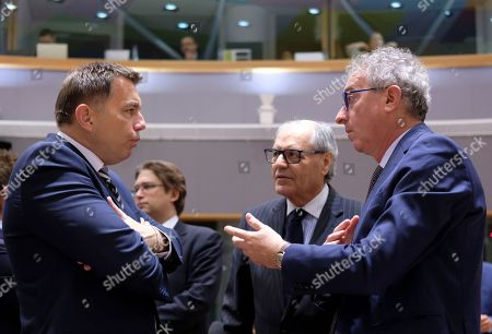 Slovak Finance Minister Peter Kazimir (L), Malta Finance Minister Edward Scicluna (C) and Luxembourg's Finance Minister Pierre Gramegna (R) during European Finance Ministers' meeting in Brussels, Belgium, 06 November 2018.