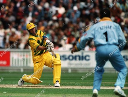 1999 World Cup Cricket Championship. Australia .v. India. At The Oval. Australia'.s Mark Waugh Hits Out Against India. Australia Scored 282 And Won The Tie By 77 Runs.