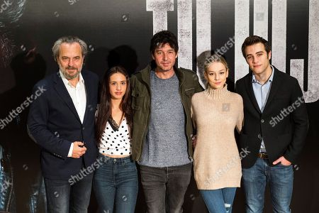 Spanish film director Miguel Angel Vivas (C) poses with actors and cast members Jose Coronado, Asia Ortega, Ester Exposito and Pol Monen during the presentation of the film 'Tu Hijo' (Your Son) in Madrid, Spain, 06 November 2018. The movie, directed by Spanish Miguel Angel Vivas, will be premiered on 09 November.