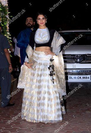 Actress Jacqueline Fernandez attend Shilpa Shetty's Diwali party at Juhu in Mumbai.