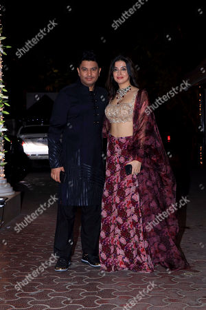 Divya Khosla Kumar with Bhushan Kumar attend Shilpa Shetty's Diwali party at Juhu in Mumbai.