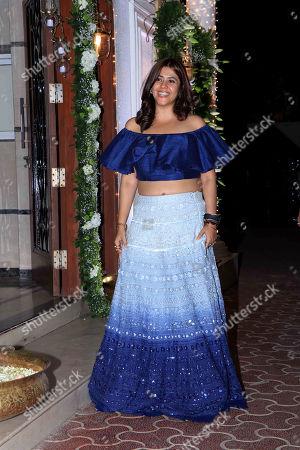 Ekta Kapoor attend Shilpa Shetty's Diwali party at Juhu in Mumbai.