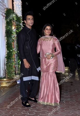 Actor Sonu Sood with wife Sonali attend Shilpa Shetty's Diwali party at Juhu in Mumbai.