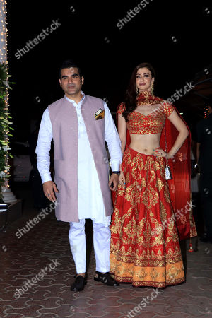Actor Arbaaz Khan with girlfriend Georgia Andriani attend Shilpa Shetty's Diwali party at Juhu in Mumbai.