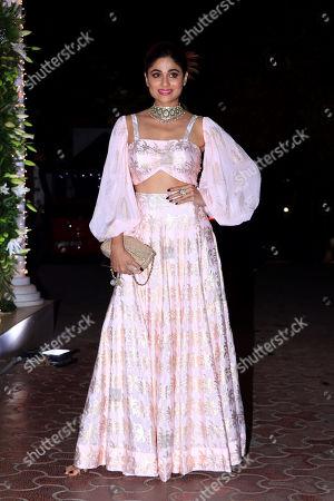 Actress Shamita Shetty attend Shilpa Shetty's Diwali party at Juhu in Mumbai.