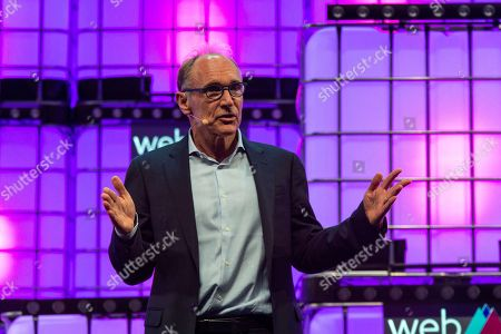 World Wide Web Inventor Tim Berners-Lee is seen addressing to the audience at Altice Arena Centre Stage in Lisbon during the opening ceremony of the Web Summit 2018.