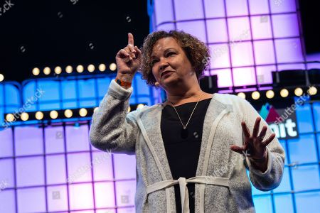 Apple?s Vice President of Environment, Policy and Social Initiatives Lisa Jackson is seen addressing to the audience at Altice Arena Centre Stage during the opening ceremony of the Web Summit 2018.