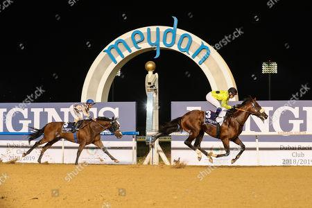 Stock Photo of Roy Orbison (ARG) ridden by Fernando Jara wins the 8f Longines La Grande Classic Collection, race 3, at Dubai Meydan race track.