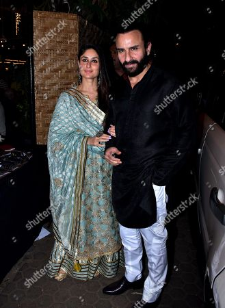 Indian actress Kareena Kapoor Khan with Saif Ali Khan at Prithvi Theatre Festival's 40th anniversary party at Prithvi Theatre, Juhu in Mumbai.