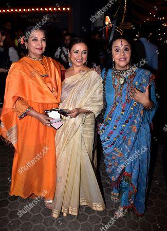 Stock Picture of Indian actress Shabana Azmi, Divya Dutta and Ila Arun at Prithvi Theatre Festival's 40th anniversary party at Prithvi Theatre, Juhu in Mumbai.