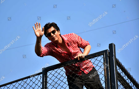 Indian actor Shahrukh Khan waves to his fans on 53rd birthday at Mannat, Bandrra in Mumbai.