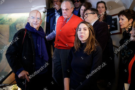 Stock Photo of Medicis prize jury members Frederic Mitterand (red) flanked by others jury members announces the list of laureates of the 2018 prize for French novel and foreign novel to french writer Pierre Guyotat (L) and US writer Rachel Kushner (C) in Paris, France, 06 November 2018. The Prix Medicis are annual French literary awards.