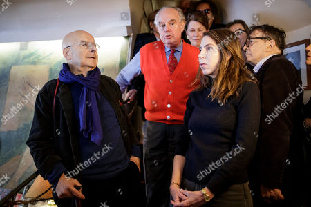 The laureate of the Medicis Literary Prize 2018, French writer Pierre Guyotat (L) and laureate for foreign prize US writer Rachel Kushner (R) poses with Frederic Mitterand (C) and others jury members after they were awarded in Paris, France, 06 November 2018. The Prix Medicis are annual French literary awards.