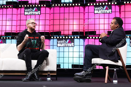 The whistleblower Christopher Wylie (L) speaks with journalist Krishnan Guru Murthy (R) on the second day of the 2018 Web Summit in Lisbon, Portugal, 06 November 2018. The 2018 Web Summit, considered the largest innovation event of startups and technological entrepreneurship in the world, takes place from 05 to 08 November at the Altice Arena and FIL pavilion, in Parque das Nacoes, Lisbon.