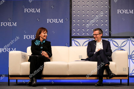 Portugal's Minister of the Presidency and Administrative Modernization Maria Manuel Leitao Marques (L) and European Commissioner for Research, Science and Innovation Carlos Moedas (D) during a Forum 'Reaching a triple A for Europe' on the second day of the 2018 Web Summit in Lisbon, Portugal, 06 November 2018. The 2018 Web Summit, considered the largest innovation event of startups and technological entrepreneurship in the world, takes place from 05 to 08 November at the Altice Arena and FIL pavilion, in Parque das Nacoes, Lisbon.