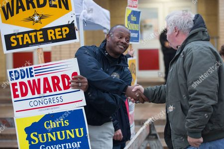 Republican candidate Eddie Edwards campaigns for the US House in the 1st congressional district in Manchester, New Hampshire, USA, 06 November 2018. Eddie Edwards faces a challenge from Democratic candidate Chris Pappas, in the 06 November general election. Voters across the nation are selecting who will represent them on local, state and national levels. All 435 members of the House of Representatives, 35 seats in the 100-member Senate and 36 out of 50 state governors are up for election.