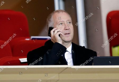 Monaco Vice President Vadim Vasilyev gives a phone call during the Champions League Group A soccer match between Monaco and Club Brugge at the Louis II stadium in Monaco