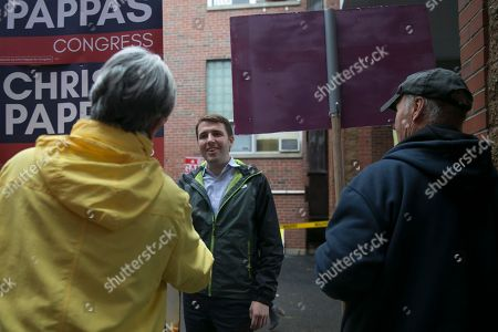 Democratic candidate Chris Pappas (C) campaigns for the US House in the 1st congressional district in Exeter, New Hampshire USA, 06 November 2018. Chris Pappas faces a challenge from Republican candidate Eddie Edwards in the 06 November general election. Voters across the nation are selecting who will represent them on local, state and national levels. All 435 members of the House of Representatives, 35 seats in the 100-member Senate and 36 out of 50 state governors are up for election.
