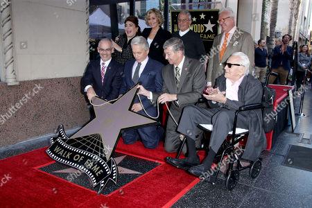 Mitch O'Farrell, Michael Douglas, Jane Fonda, Leron Gubler, Ron Meyer, Vin Di Bona and Kirk Douglas