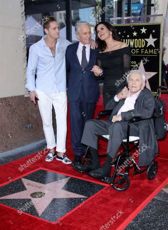 Cameron Douglas, Michael Douglas, Catherine Zeta-Jones and Kirk Douglas