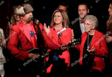 Marsha Blackburn, Mary Jo Morgan Wedgeworth, John Rich. Rep. Marsha Blackburn, R-Tenn., center, and her mother, Mary Jo Morgan Wedgeworth, right, clap along as John Rich, left, performs after Blackburn was elected to the U.S. Senate, in Franklin, Tenn