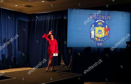 Wisconsin Republican U.S. Senate candidate Leah Vukmir arrives to speak at an election night event, in Pewaukee, Wis. Vukmir was defeated by Democratic incumbent Sen. Tammy Baldwin