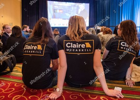 Supporters of US Senator Claire McCaskill wait for results to be released from the 2018 midterm general election during an election night party Marriott St. Louis Grand in Saint Louis, Missouri USA, 06 November 2018. McCaskill, a Democrat, faced Republican Josh Hawley.