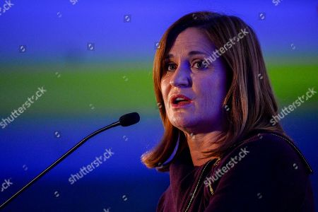 Stock Photo of Democratic Utah Senate candidate Jenny Wilson gives a concession speech at an election night party in Salt Lake City