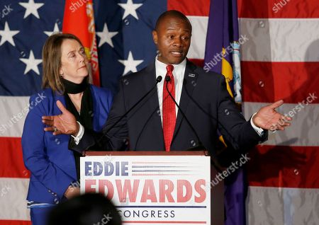 Republican Eddie Edwards, joined by his wife Cindy, concedes defeat in the 1st Congressional District, in Manchester, N.H