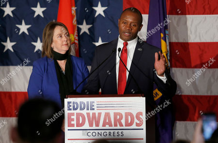 Republican Eddie Edwards, joined by his wife, Cindy, concedes defeat in the 1st Congressional District, in Manchester, N.H