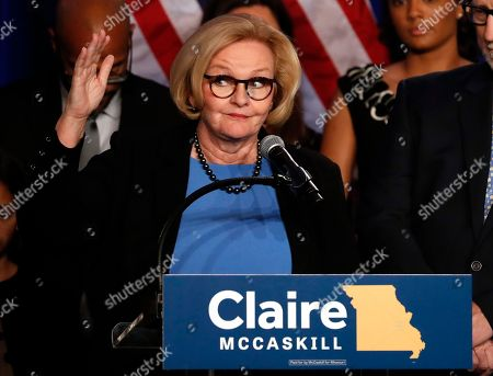 Sen. Claire McCaskill, D-Mo., delivers a concession speech, in St. Louis. McCaskill has conceded defeat to Republican challenger Josh Hawley in her bid for a third term