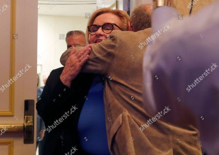 Sen. Claire McCaskill, D-Mo., hugs a supporter after delivering a concession speech, in St. Louis. McCaskill conceded defeat to Republican challenger Josh Hawley in her bid for a third term