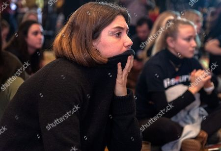 Reeves Oyster (L) of Saint Louis listens as results are announced indicating Republican challenger Josh Hawley holding a strong lead over incumbent US Senator Claire McCaskill in the 2018 mid-term general election during an election night party Marriott St. Louis Grand in Saint Louis, Missouri USA, 06 November 2018. McCaskill, a Democrat, was trailing Republican Hawley.